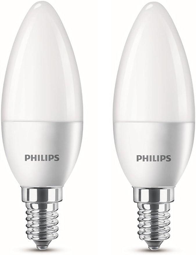 Philips Bombilla Led Vela E14 4 W Equivalentes A 25 W En Incandescencia 250 Lúmenes Luz Blanca Cálida Pack De 2 Amazon Es Iluminación