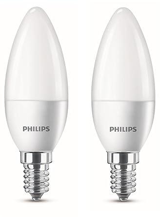 Philips Bombilla LED Vela E14, 4 W equivalentes a 25 W en incandescencia, luz blanca cálida