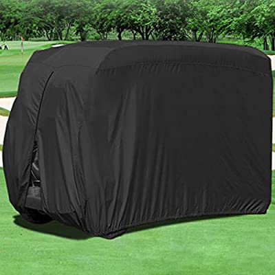 FLYMEI Waterproof Dust Prevention Golf Cart Cover for 4 Passenger EZ GO Club Car Yamaha Golf Carts Black (Size L) from FLYMEI