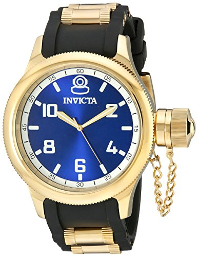 - Invicta Men's 1437 Russian Diver Blue Dial Black Polyurethane Watch