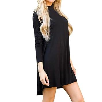 19d20f2333d Janly® Daily Dress by Womans Turtleneck Plain Mini Dress Loose Casual Long  Sleeve Cotton Blouse