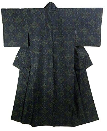 リサイクル 着物 大島紬 緯双 正絹 袷 華文 裄63.5cm 身丈163cm