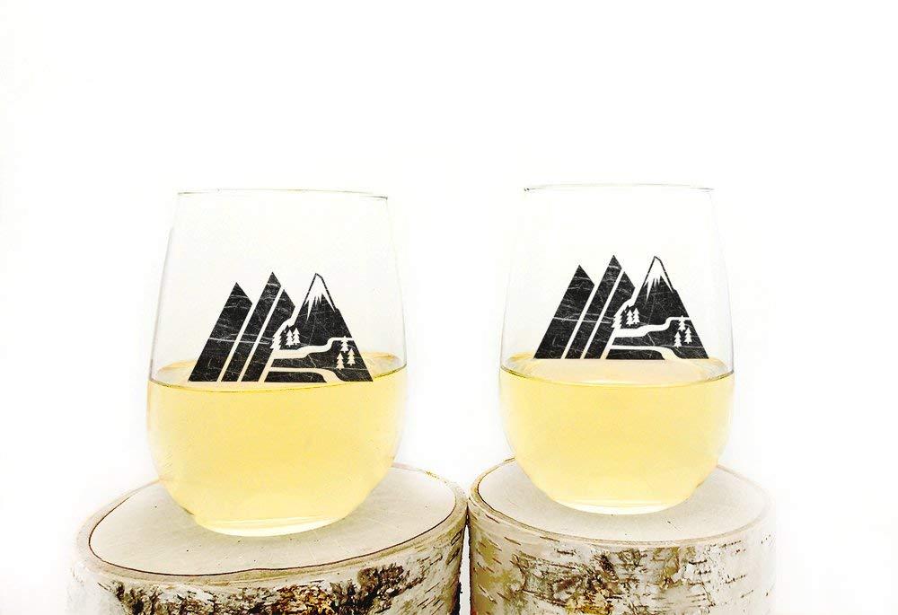 Retro Mountain Range Whiskey Glasses Tumblers Set of Two 11oz
