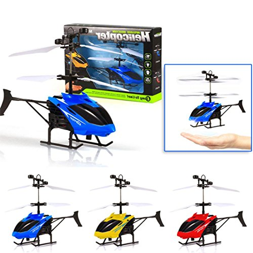 Sinwo Flying Mini RC Infraed Induction Helicopter Aircraft Toy Flashing Light Toys For Kid Gift Children Flying Toy (Blue)