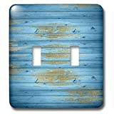 3dRose LSP_254830_2 Brilliant Blue and Gold Distressed Wood Print Pattern Toggle Switch,
