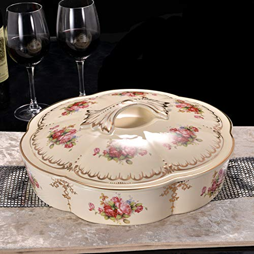 - AdorabFruit European style,nut dish with lid dried fruit snack plate, fruit bowl, round ceramic,round hibiscus flower