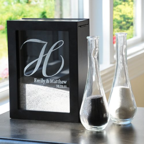 (Black Wedding Unity Sand Shadow Box Set with Personalization)
