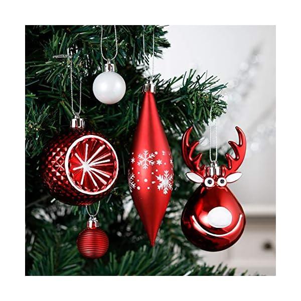 Victor's Workshop Addobbi Natalizi 92 Pezzi di Palline di Natale, 3-15 cm Tradizionali Ornamenti di Palle di Natale Infrangibili Rossi e Bianchi per la Decorazione Dell'Albero di Natale 4 spesavip