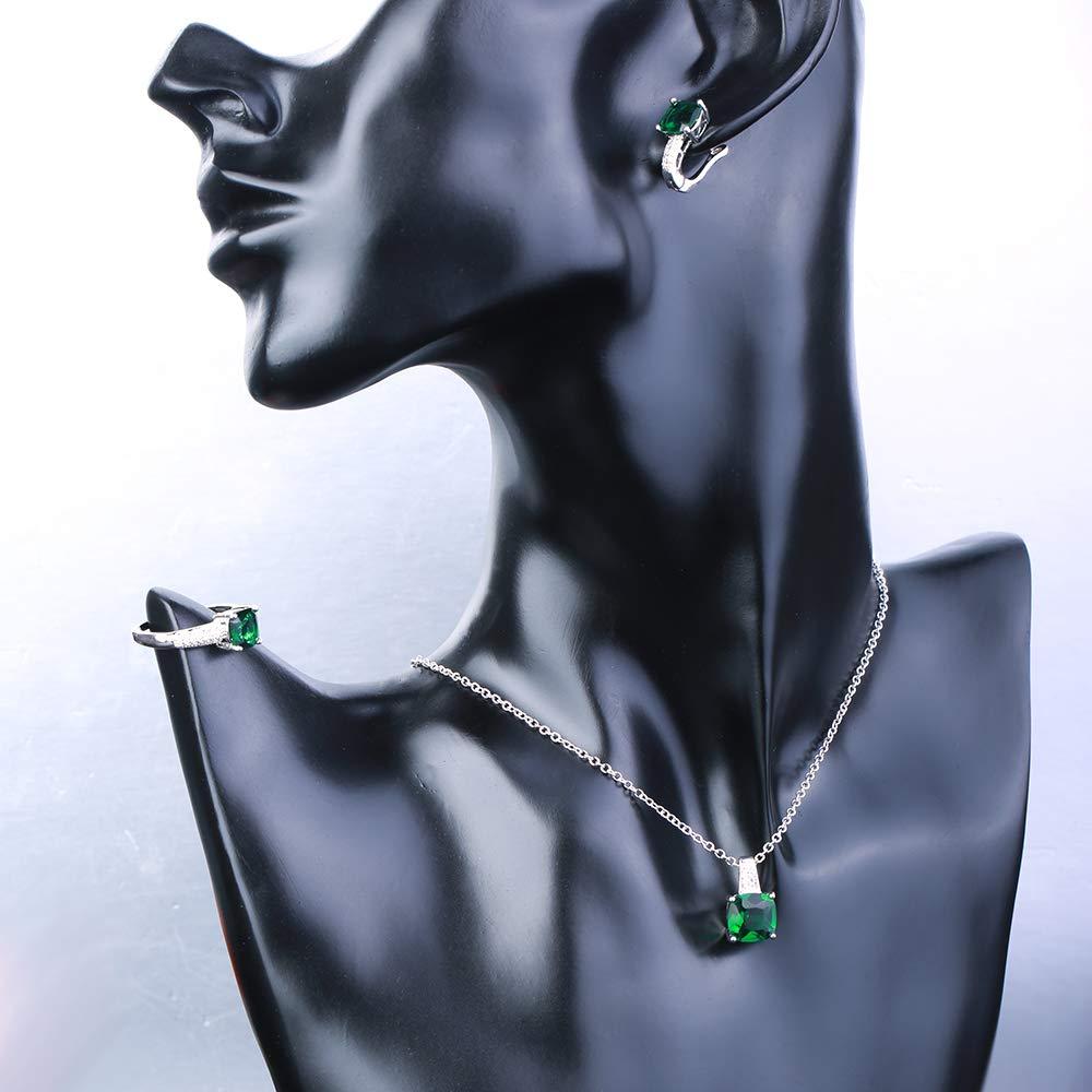 LAVALINK Fiesta de la Boda del Sistema del Anillo Pendiente del Collar de Piedra Verde de la Vendimia para Las Mujeres de Plata esterlina Bijoux