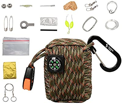 The Friendly Swede 20 Accessories Emergency 550 lb 4-in-1 Paracord (copper wire, fishing line, jute, normal strand)