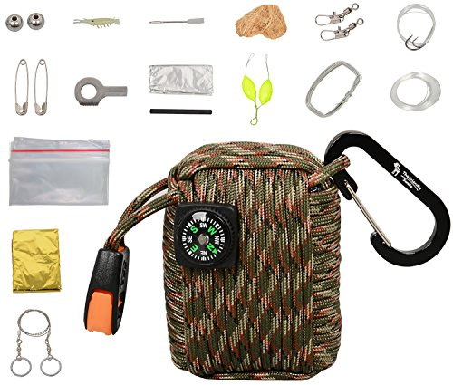 The Friendly Swede Survival-Pod - Survival-Kit inklusive Drahtsäge, Rettungsdecke und Paracord (Armee Grün/Camouflage)