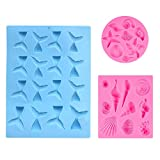 Kabi 3Pcs Seashell Mermaid Tail Mold DIY Silicone Fondant Chocolate Candy Molds for Cake Decoration Cupcake Topper Making Craft Soap Polymer Clay