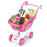 Kids Shopping Cart Set Pretend Play Toy Kids Grocery Cart with Full Grocery Food Toy Playset for Toddlers Age 3 Years and up (Pink)