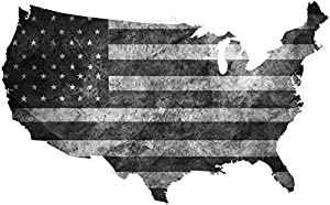 Amazoncom USA Map Subdued Black White Decal US Tattered American - Black and white usa map