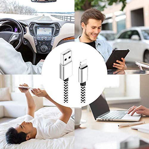 CredDeal Phone Charger, MFi Certified Lighting Cable 5 Pack [3/3/6/6/10FT] Fast Charging Data Sync Nylon Braided USB Cord Compatible iPhone 11/Pro/Xs Max/X/8/7/Plus/6S/6/SE/5S