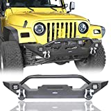 Jeep TJ Front Bumper Different Trail Rock Crawler w/Winch Plate & 2X 18W LED Accent Lights for 1987-2006 Jeep Wrangler & Unlimited