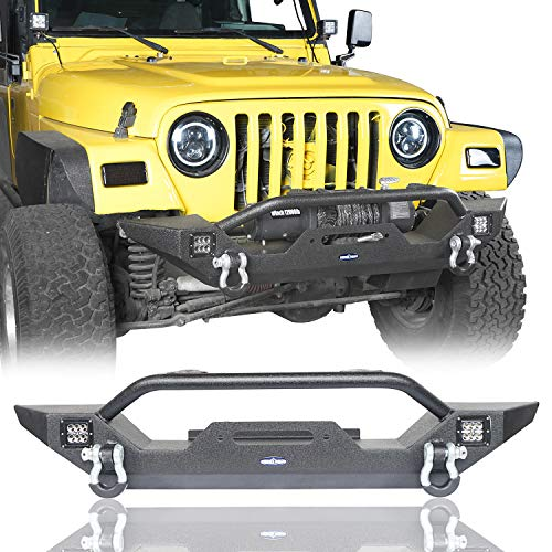 (u-Box Jeep Wrangler Front Bumper w/Winch Plate & LED Lights & D Rings Rock Crawler for 1997-2006 Jeep Wrangler TJ - Different Trail)
