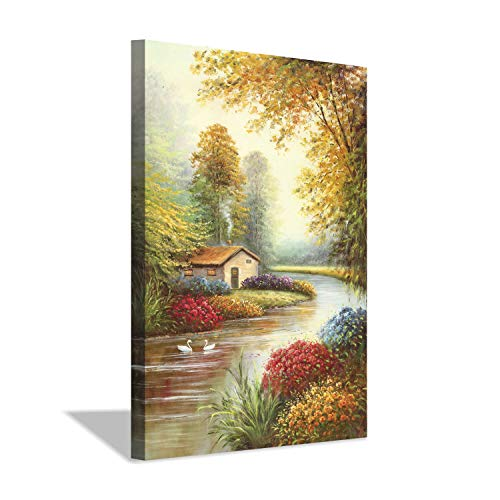 Hardy Gallery Village Landscape Country Barns Picture: Swans in River Gold Foil Painting Print on Canvas