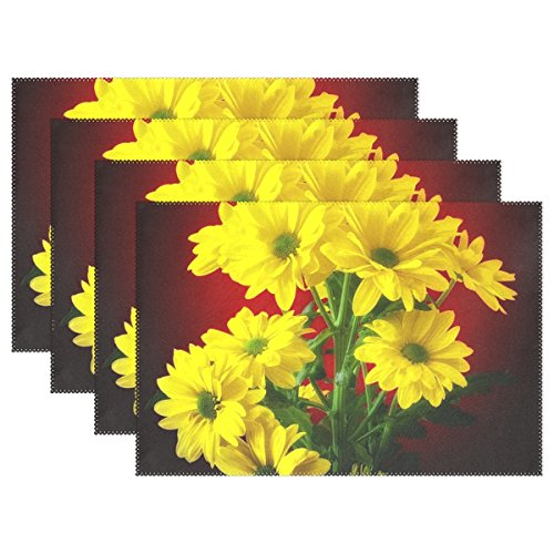ENEVOTX Flower Plant Nature Bright Bouquet Marguerite Placemats Set Of 4 Heat Insulation Stain Resistant For Dining Table Durable Non-slip Kitchen Table Place Mats