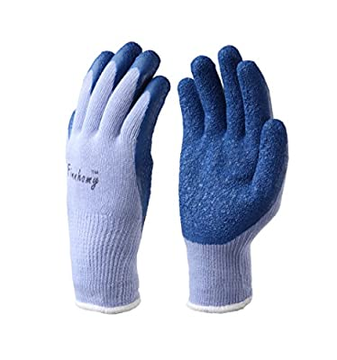Finnhomy 12 Pairs Knit Work Gloves, Textured Rubber Latex Coated for Working, Gardening
