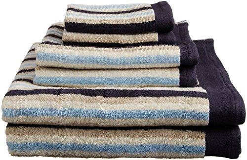 Superior Collection Luxurious Stripes 100% Premium Combed Cotton 6-Piece Towel Set, (Set Blue Stripes)