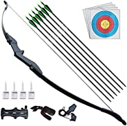 D&Q Bow and Arrow for Beginner Teens Archery Recurve Bow Kit 30 40Lbs Takedown Bow for Left and Right Hand