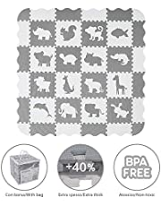 VeloVendo® Alfombra Puzzle Infantiles 40% más Gruesa Que la Alfombra de Rompecabezas Normal con Certificado CE | Suelo de Espuma EVA | Tapete de Juego | Alfombra Suave para Bebé (Estrellas Blancas)