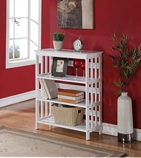 Mission Style Bookcase Bookshelf White 3 Tier