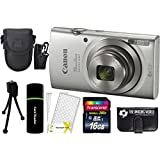 Canon PowerShot ELPH 180 20MP 8x Zoom Digital Camera (Silver) + 16GB Card + Reader + Case + Accessory Bundle