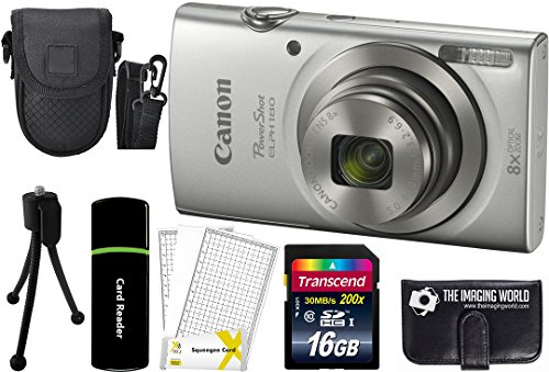 Canon PowerShot ELPH 180 20MP 8X Zoom Digital Camera (Silver) + 16GB Card + Reader + Case + Accessory Bundle Canon Powershot Sd1100 Digital Camera