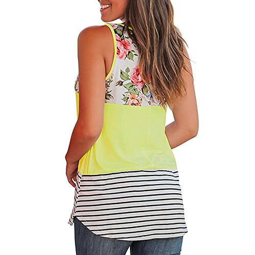 (Women Casual Floral Stripe Print Patchwork Sleeveless Tank Top Vest Blouse)