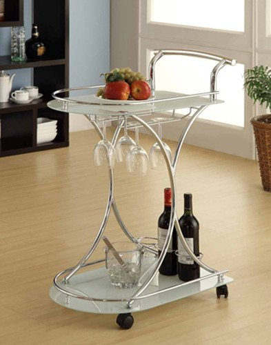 "Brand New SERVING CART, WHITE GLASS 24""L x 16""W x 32""H by Click 2 Go"