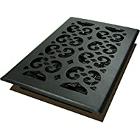 Decor Grates STH610 Scroll Text Floor Register, 6-Inch by 10-Inch, Black by Decor Grates