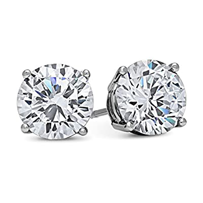 DTLA 14k White Gold Solid Cubic Zirconia Stud Earrings (in sizes 0.5ct, 1ct, 1.5ct, 2ct, 3ct, 4ct) by DTLA Fine Jewelry