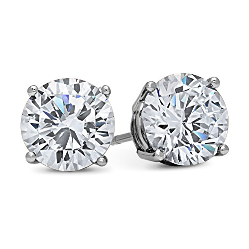 14k White Gold Solid Cubic Zirconia Stud Earrings (2 carats) by DTLA Fine Jewelry
