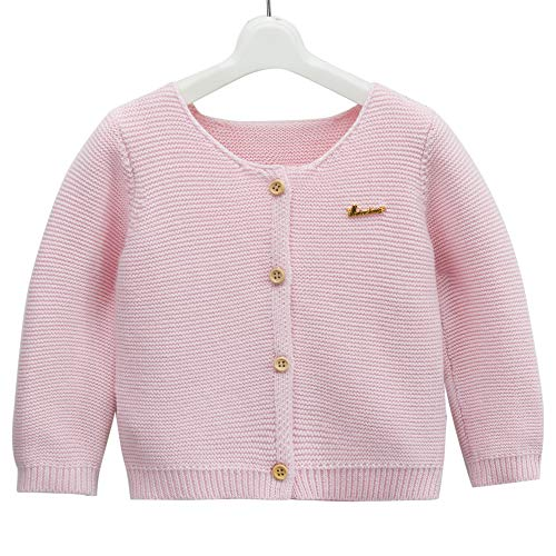 - Girl's Knit Long-Sleeved Sweater Children's Woollen Sweater Baby Girl's Open Front Cardigan Shawl Winter (Pink, 90CM(9-18M))