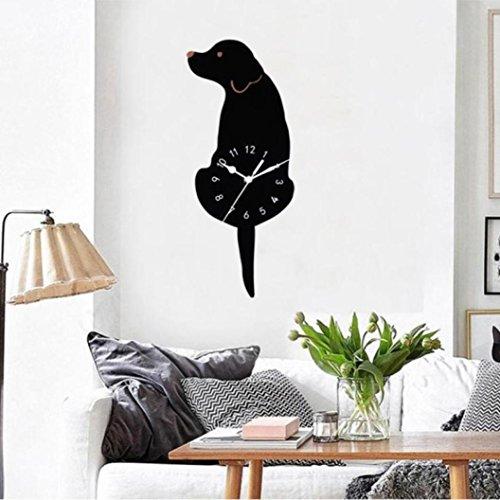 DDLBiz Creative Swing Tail Non Tick Cartoon Cute Cat Dog Wall Clock Home Decor (I) by DDLBiz