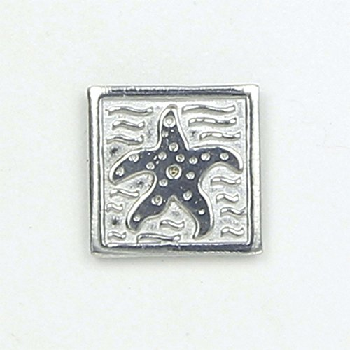 Star Fish Pin Square - Magnetic Back Closure - No holes in Clothes - Handcrafted Bright Polished Pewter Made in USA