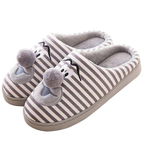 Hoxekle Inverno Accogliente Womens Mens Casa Di Pelliccia Pantofola Antiscivolo Foderato Di Velluto Casa Coperta Fumetto Pantofole Grigio