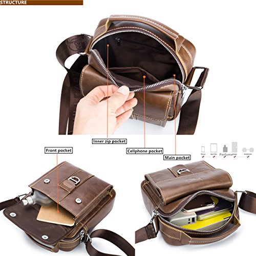 80f76b7b03d2 BULL CAPTAIN Small Messenger Bag for Iphone 7 Plus Real Leather Casual  Multi-pocket Purse Handbag Crossbody Bags ZB-038 (Brown)