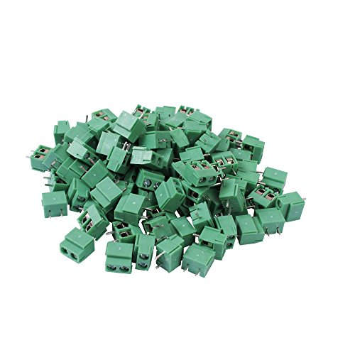 Teenitor Top Quality 100Pcs 2 Pole 5mm Pitch PCB Mount Screw Terminal Block 8A 250V