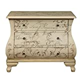This unique accent chest has beautiful bombe shaping on the front and sides. Soft hued hand-painted scrolls and words of encouragement, such as 'Hope' and 'Love,' complement the neutral Maci finish and diminutive, dark bronze-finished hardwar...