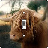 Rikki Knight RK-LSPS-9151 Highland Cow Close-Up Design Light Switch Plate Cover