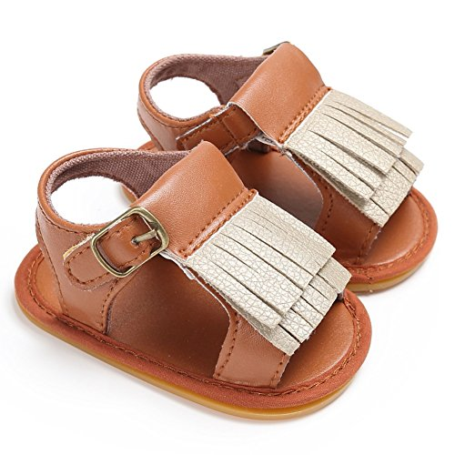Sandalias De Bebe,BOBORA Prewalker Zapatos Primeros Pasos Para Bebe Borlas PU Bebe Suelas De Goma Sandalias marron