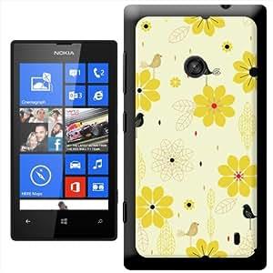 Fancy A Snuggle ' de flores amarillas' carcasa Rígida para Nokia Lumia 520