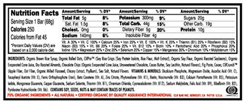Clif Bar Energy Bar, Chocolate Almond Fudge, 2.4-Ounce Bars, 12 Count (Pack of 2)