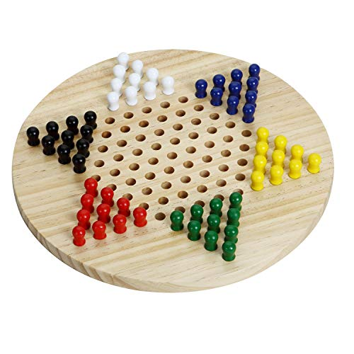 Wooden Chinese Checkers Board Game|Includes 60 Wooden Pegs in 6 Colors|Made with All Natural Wooden Materials|Classic Strategy Game & Fun for The Whole Family (11.5 Inch)