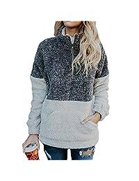 CieKen Women's Cotton Knitted Long Sleeve Lightweight Tunic Sweatshirt Tops