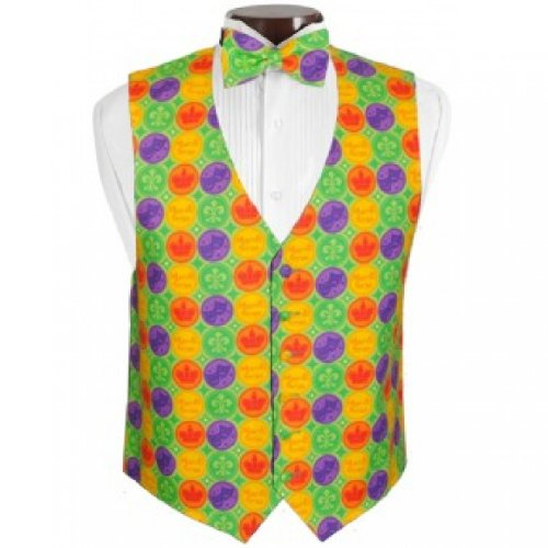 Mardi Gras Colored Coins Tuxedo Vest and Bow Tie Size (Colored Tuxedo Vests)