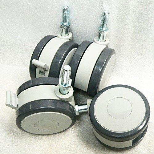 """5//16/"""" 18 x 1/"""" stem Oajen 2-3//8/"""" heavy duty soft wheel caster set of 4"""